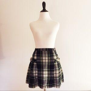 Vintage Plaid Wool Pleated Skirt